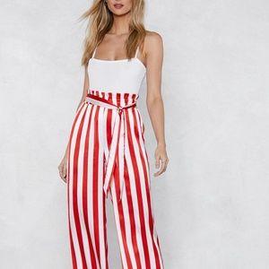 Nasty Gal Satin Striped Pants